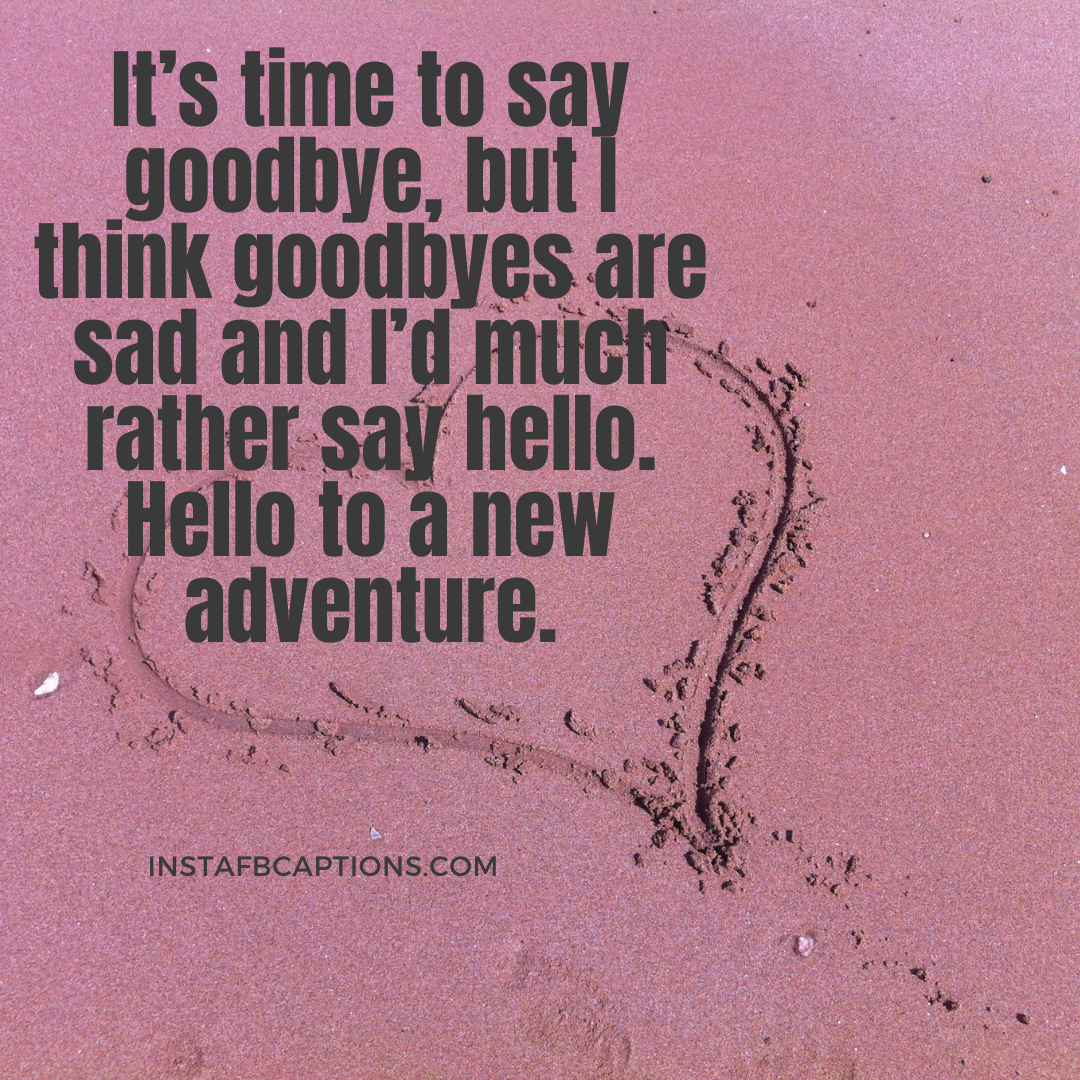 It's Time To Say Goodbye, But I Think Goodbyes Are Sad And I'd Much Rather Say Hello. Hello To A New Adventure. (1)  - It   s time to say goodbye but I think goodbyes are sad and I   d much rather say hello - Indian Wedding Captions for all your Lockdown Functions